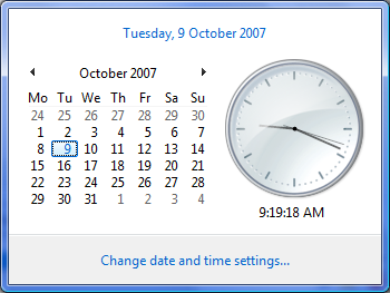 Windows Vista Calendar